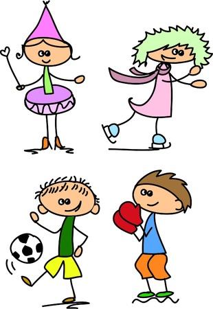 Set of doodle children Stock Vector - 17350286