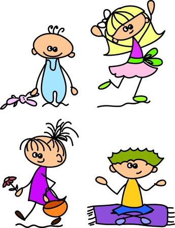 dance school: Set of doodle children