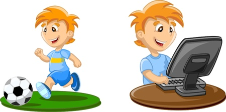 computer cartoon: Boy is playing on a computer Illustration