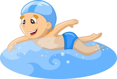 kids swimming pool: Boy est� nadando Vectores