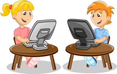 computer cartoon: Children and computer
