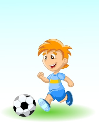 pastime: Boy is playing football, background