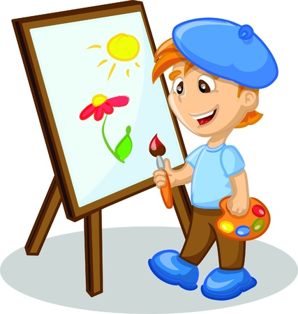 painter palette: Boy is drawing