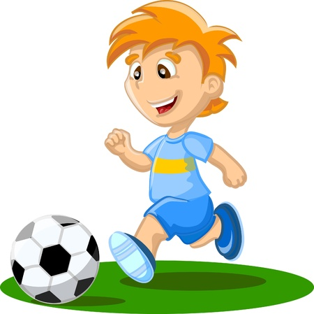 kids football: Boy is playing football, background