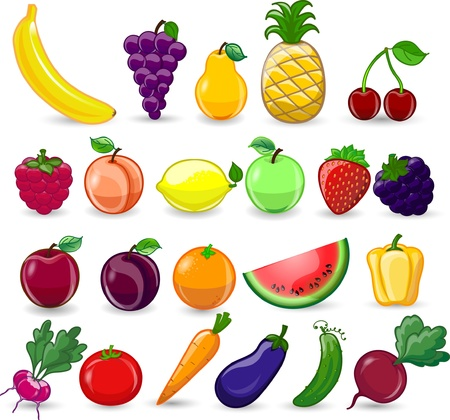 Cartoon fruits and vegetables