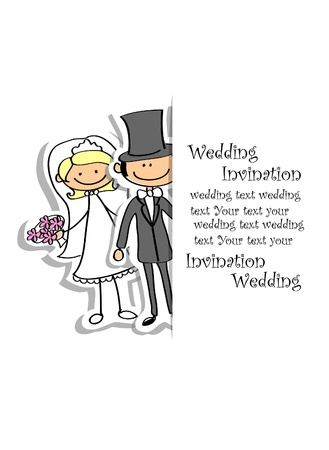 bride veil: Cartoon wedding picture  Illustration