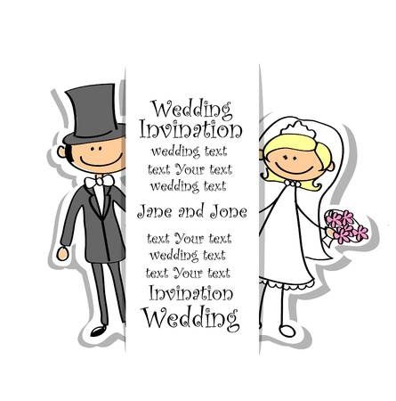 Cartoon wedding picture  Ilustrace