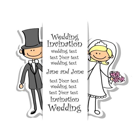 c�r�monie mariage: Photo de mariage de bande dessin�e