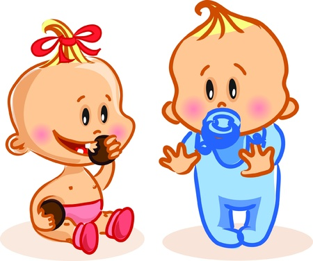 baby cry: Vector illustration of baby boy and baby girl