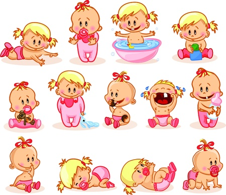 crying child: Vector illustration of baby girls