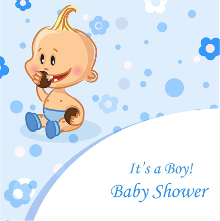 baby announcement: Vector illustration of baby boys, background