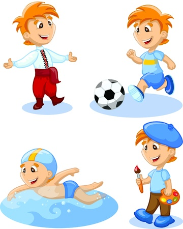 soccer shoe: Boy is dancing, swimming, drawing Illustration