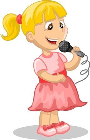 Une fille chante Banque d'images - 17462903