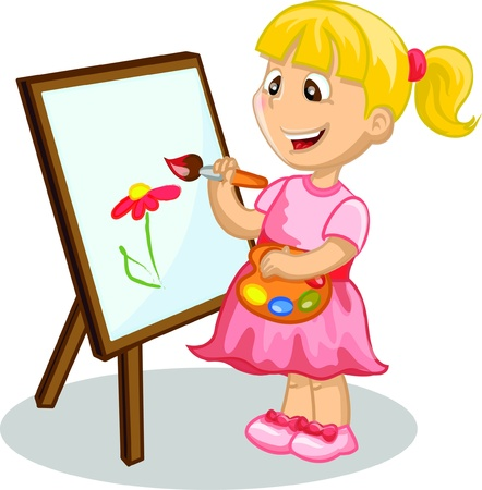 pastime: Girl drawing on the easel