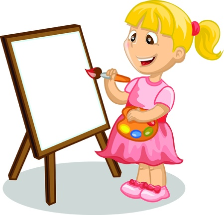 Girl drawing on the easel  Vector