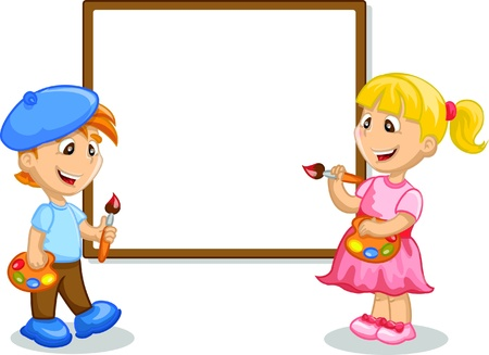 young boy in pool: Boy and girl drawing on the easel  Illustration