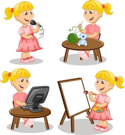 Girl is engaged in hobbies  Vector