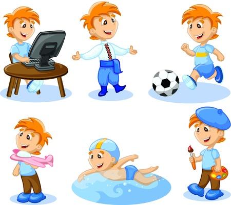school sports: Boy is engaged in hobbies