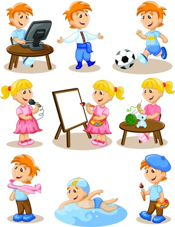 Children are engaged in the hobbies