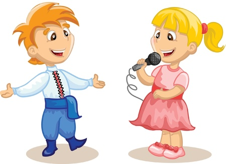 Children is singing and dancing  Vector