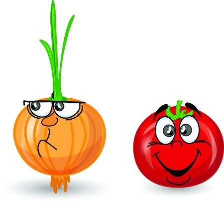 Cartoon onion and tomato