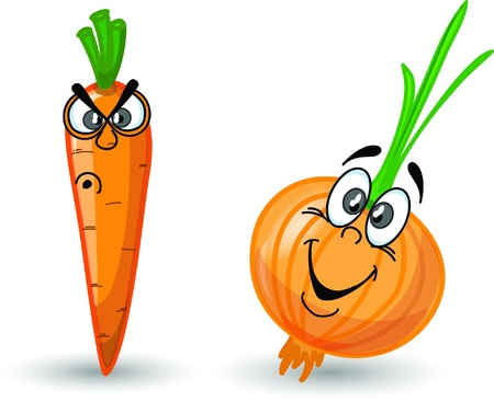 Cartoon carrot and onion Illustration
