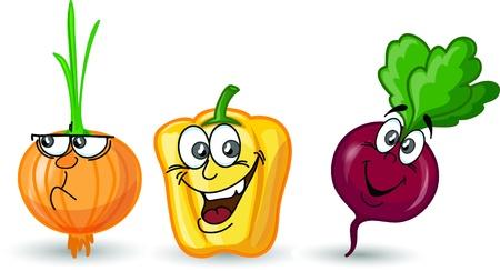 Cartoon onion, pepper and ripe Vetores