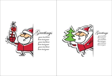 Cartoon Santa Claus, background  Vector