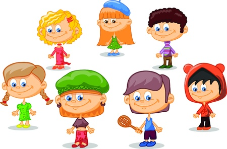 Set of cartoon cute children Stock Vector - 17514747
