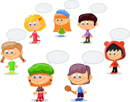 Set of cartoon cute children Stock Vector - 17514748