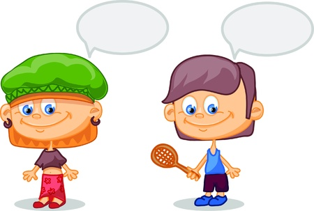 Set of cartoon cute children Stock Vector - 17514742