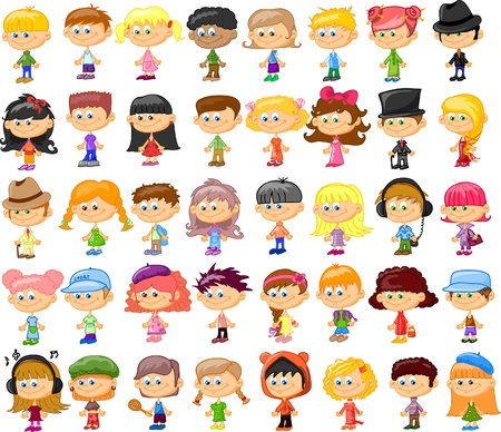 ni�o parado: Conjunto de dibujos animados lindos ni�os Vectores