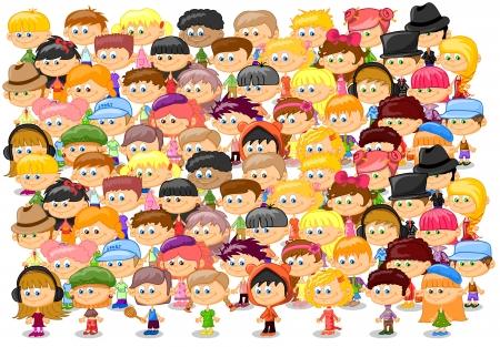 Set of cartoon cute children 向量圖像