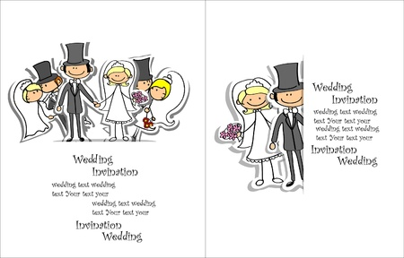 cartoon wedding couple: Cartoon wedding picture  Illustration