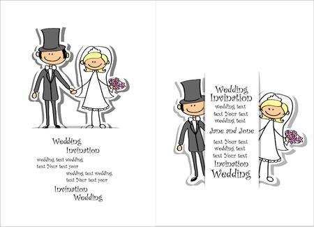 Cartoon wedding picture  向量圖像