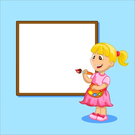 red haired girl: Cartoon girl is drawing