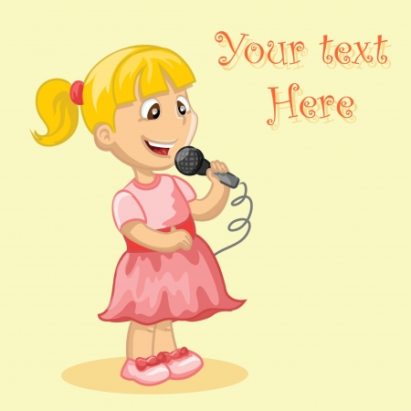carol singer: Cartoon cute girl sings