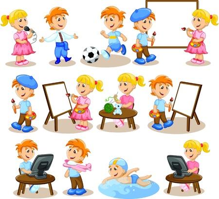 Los niños participan en la pasatiempos