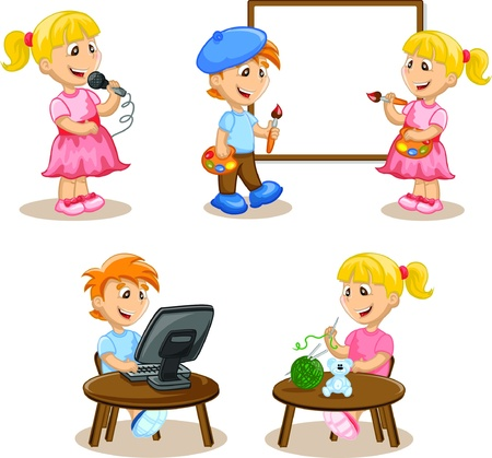 Kinderen houden zich bezig met de hobby's Vector Illustratie