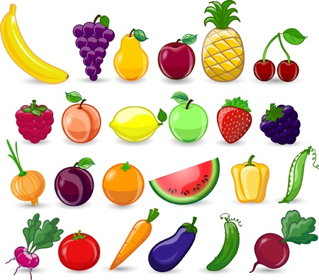 cartoon strawberry: Cartoon vegetables and fruits