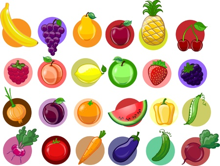 Cartoon vegetables and fruits Stock Vector - 17804252