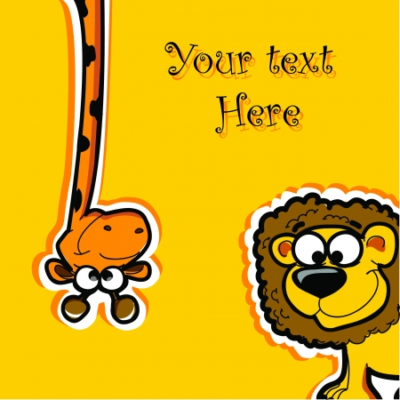 kids birthday party: Greeting card with cartoon animals
