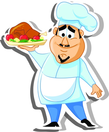 porter: Cartoon character- chef  Illustration