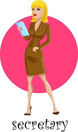 Cartoon woman secretary  Stock Vector - 17804270