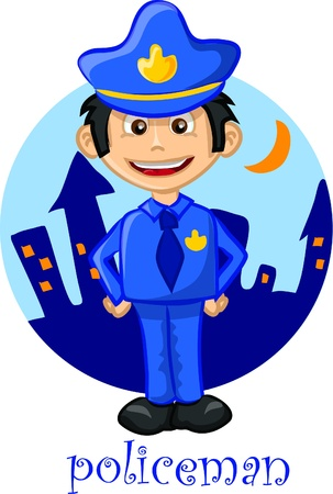 Cartoon cute character - policeman  Vector
