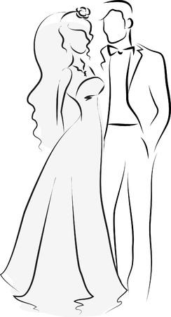 Silhouet van de bruid en bruidegom, achtergrond Vector Illustratie
