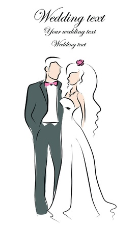 closeness: Silhouette of bride and groom, background