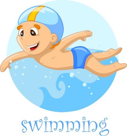 swimmer: Cartoon character swimmer