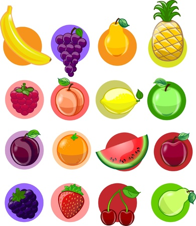 cartoon onion: Vegetables and fruits, vector background