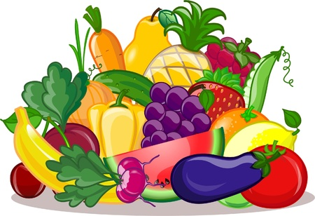vegetable cartoon: Vegetables and fruits, vector background